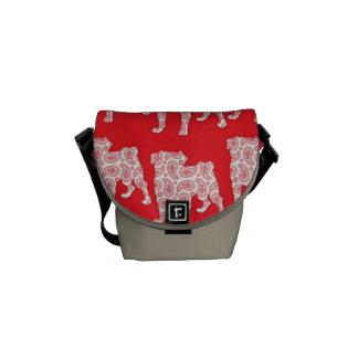 Mod Retro Paisley Pugs - Red Messenger Bag