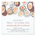"Mod Retro Pebbles Adult Teen Birthday Party Invite 5.25"" Square Invitation Card"