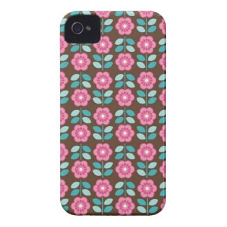 Mod Retro Pink Flowers on Brown iPhone 4 Case
