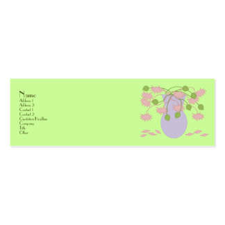 Mod Retro Pink Flowers Vase Mini Business Card