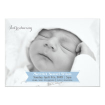 Mod Ribbon Blue New Baby photo Announcement