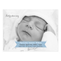 Mod Ribbon Blue New Baby photo Announcement Postcard