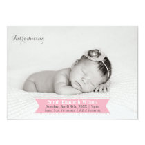 Mod Ribbon Pink New Baby photo Announcement