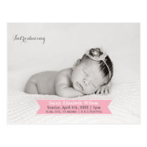 Mod Ribbon Pink New Baby photo Announcement Postcard