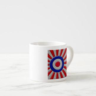 Mod Roundel Asian Sunburst in Carbon Fiber Style Espresso Cup