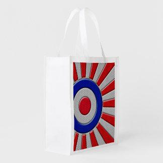 Mod Roundel Sunburst Carbon Fiber Style Grocery Bag