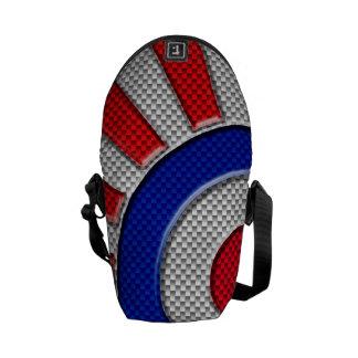 Mod Roundel Sunburst Carbon Fiber Style Messenger Bag