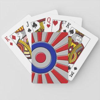 Mod Roundel Sunburst Carbon Fiber Style Playing Cards