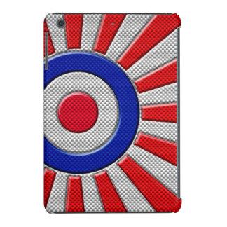 Mod Roundel Sunburst Design in Carbon Fiber Style iPad Mini Retina Covers