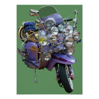 Mod Scooter with Lights and Mirrors Poster