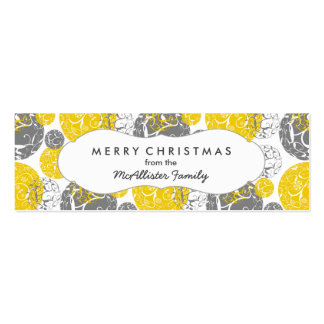 Mod Silver and Gold Holiday Christmas Gift Tag Mini Business Card