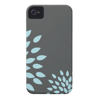 Mod Sky Blue Flower on Gray Background iPhone 4 Cover