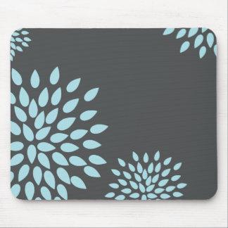 Mod Sky Blue Flower on Gray Background Mouse Pads