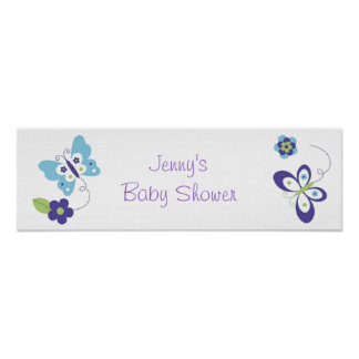 Mod Spring Butterfly Baby Shower Banner Sign Print