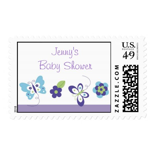 Mod Spring Butterfly Baby Shower Postage Stamps