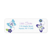Mod Spring Butterfly Flower  Address Labels