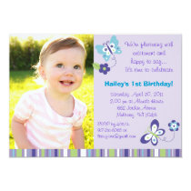Mod Spring Butterfly Flower Birthday Invitations