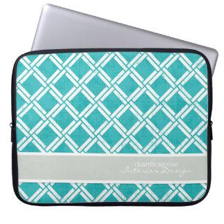 Mod Square Diagonal Trellis Pattern Personalized Laptop Sleeve