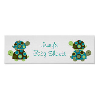 Mod Stacked Turtle Baby Shower Banner Sign Poster