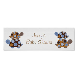 Mod Stacked Turtle Baby Shower Banner Sign Print