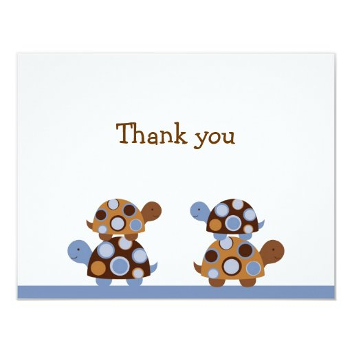 """Mod Stacked Turtle Thank You Note Cards 4.25"""" X 5.5"""" Invitation Card"""