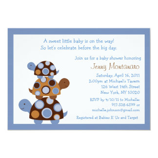 Mod Stacked Turtles Baby Shower Invitations