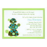 """Mod Stacked Turtles Green Baby Shower Invitations 5"""" X 7"""" Invitation Card"""