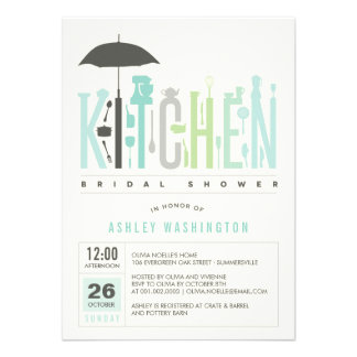 Mod Stock The Kitchen Bridal Shower Party Invite Custom Announcements
