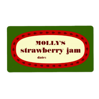 Mod Strawberry Jam Home Canning Jar Label Shipping Label