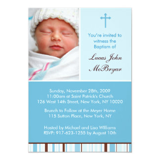 Mod Stripes Custom Baptism Invitations