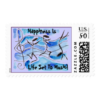 MOD STYLE DANCING MUSICAL NOTES POSTAGE STAMPS