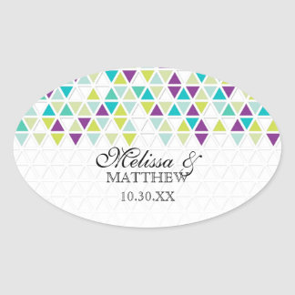 Mod Style Triangle Pattern Triangular Geometric Oval Sticker