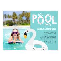 Mod Swan | Photo Birthday Party Invitation