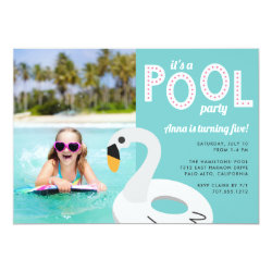 Mod Swan | Photo Birthday Party Invitation