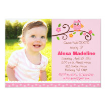 Mod Sweet Owl Girl Photo Birthday Invitations