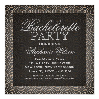 Mod Swirls Bachelorette Party Invite, Beige 5.25x5.25 Square Paper Invitation Card