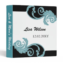 mod swirly aqua Wedding Planner binder