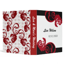 mod swirly red Wedding Planner binder