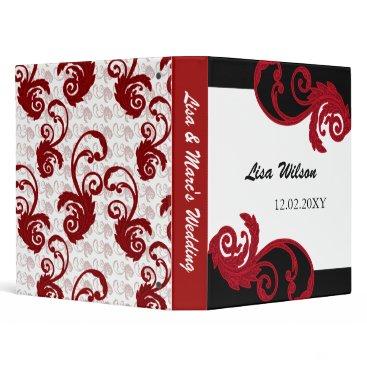 mod swirly red Wedding Planner binder