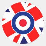 Mod Target on UK Flag Classic Round Sticker