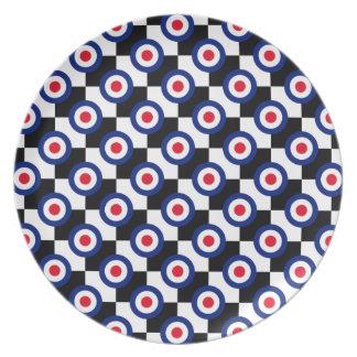 Mod Target Pattern Polka Dots Fashion Vintage Melamine Plate