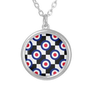 Mod Target Pattern Polka Dots Fashion Vintage Silver Plated Necklace