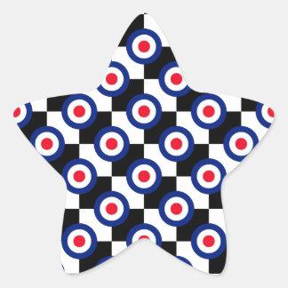 Mod Target Pattern Polka Dots Fashion Vintage Star Sticker