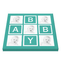 Mod Teal Patterned Baby Photo Grid Canvas Print