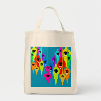 Mod Tear Drop Christmas Canvas Tote Bag