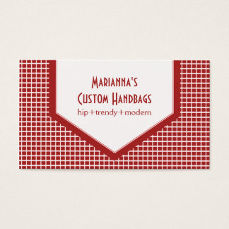 Mod Tiles Business Card, Red Business Card
