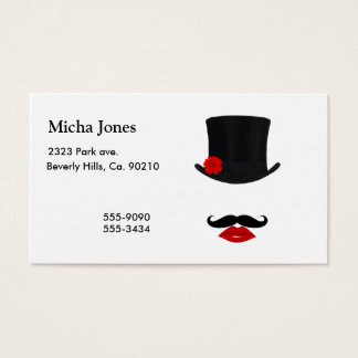 Mod Top Hat Lady With Mustache Business Card