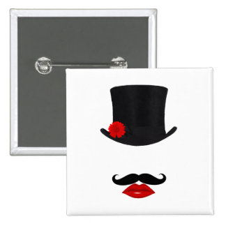 Mod Top Hat Lady With Mustache Pinback Buttons