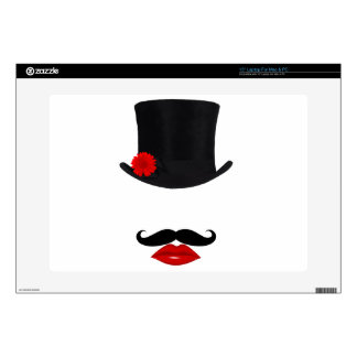 Mod Top Hat Lady With Mustache Decal For Laptop