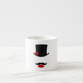 Mod Top Hat Lady With Mustache Espresso Cup